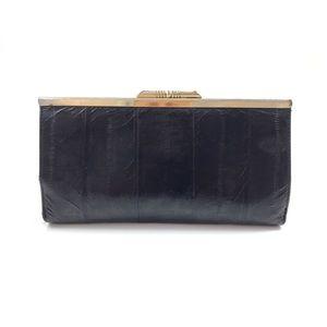 VTG black eel skin wallet clutch